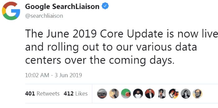 google update on twitter