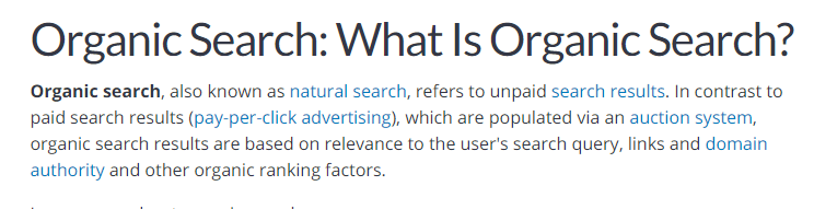 organic search - concept